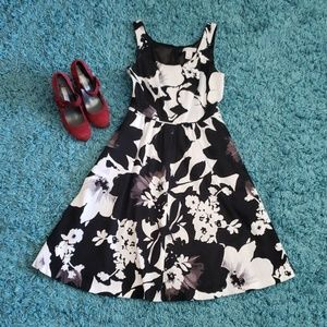 Black, Gray, and White Fit and Flare Dress